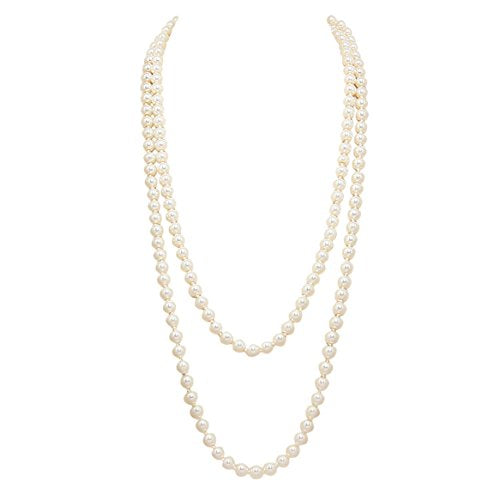 Classic Cream Knotted Faux Pearl Strand Necklace(64 inches/Long)