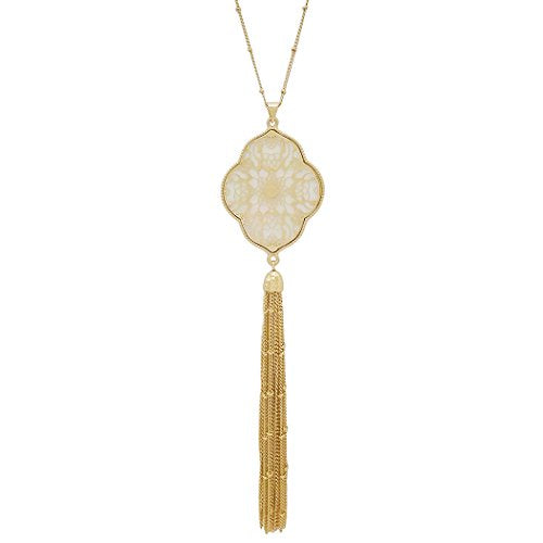 Mother of Pearl Filigree Long Tassel Pendant Necklace