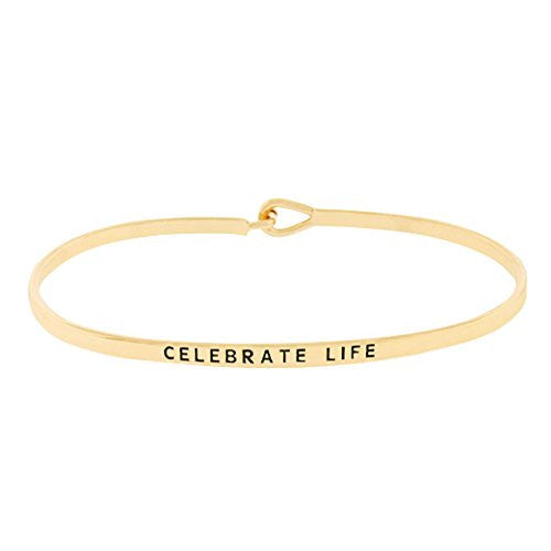 "Thin Hook Bangle Bracelet ""Celebrate Life"" (Gold)"