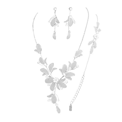 Floral Statement Necklace Bracelet Earring Set (Clear)