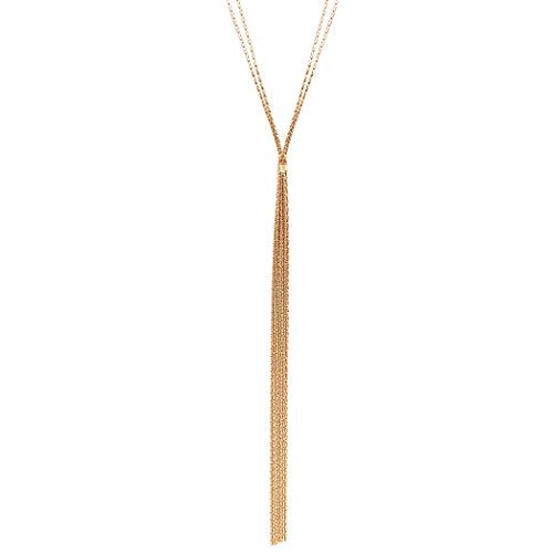 Long Metal Fringe Fashion Y Necklace (Gold Tone)