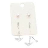 Crystal Ear Jacket and Stud Earrings Set of 3