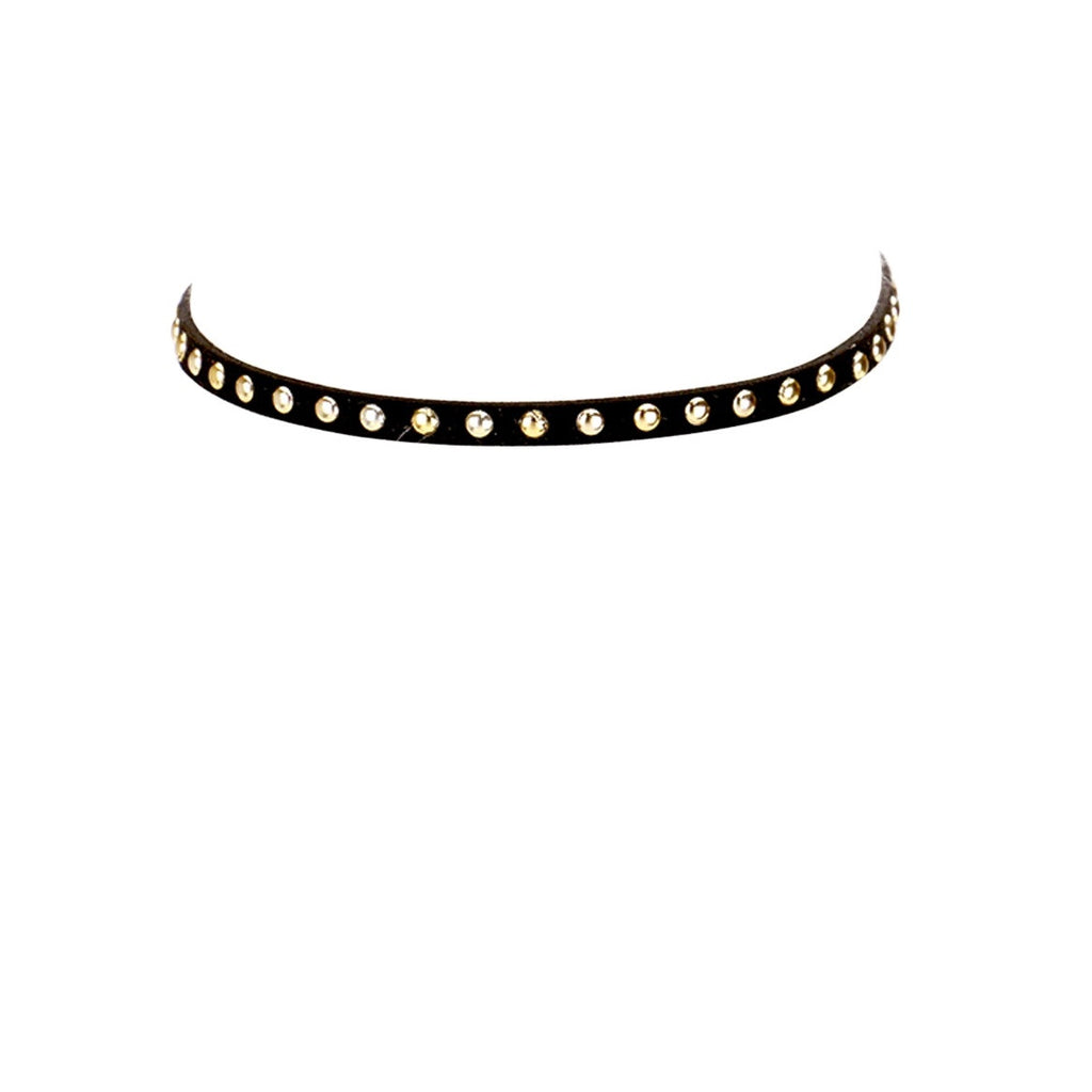 Retro Metal Studded Black Faux Suede Choker Necklace