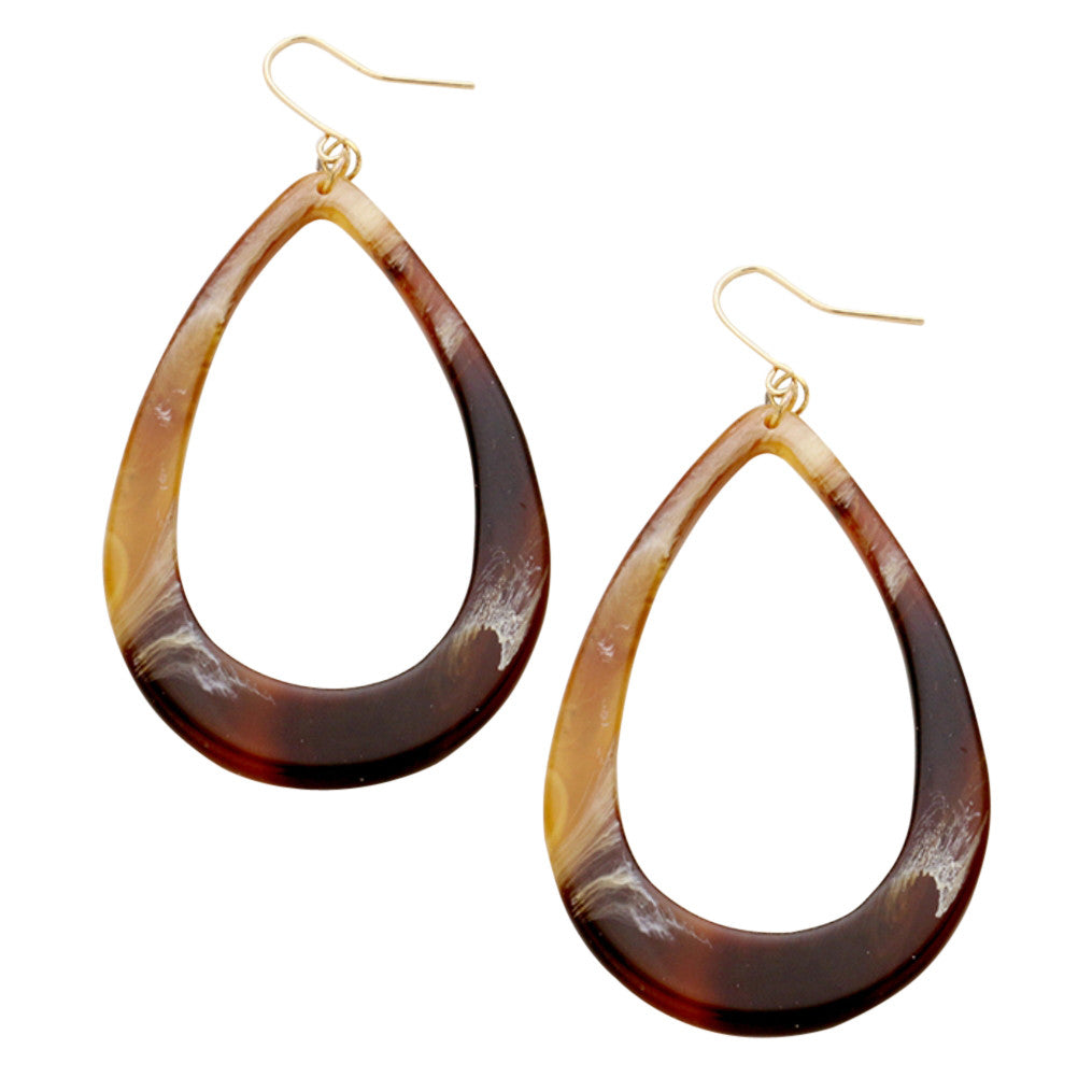 Long Dangle Tortoise Shell Celluloid Teardrop Hoop Dangle Earrings