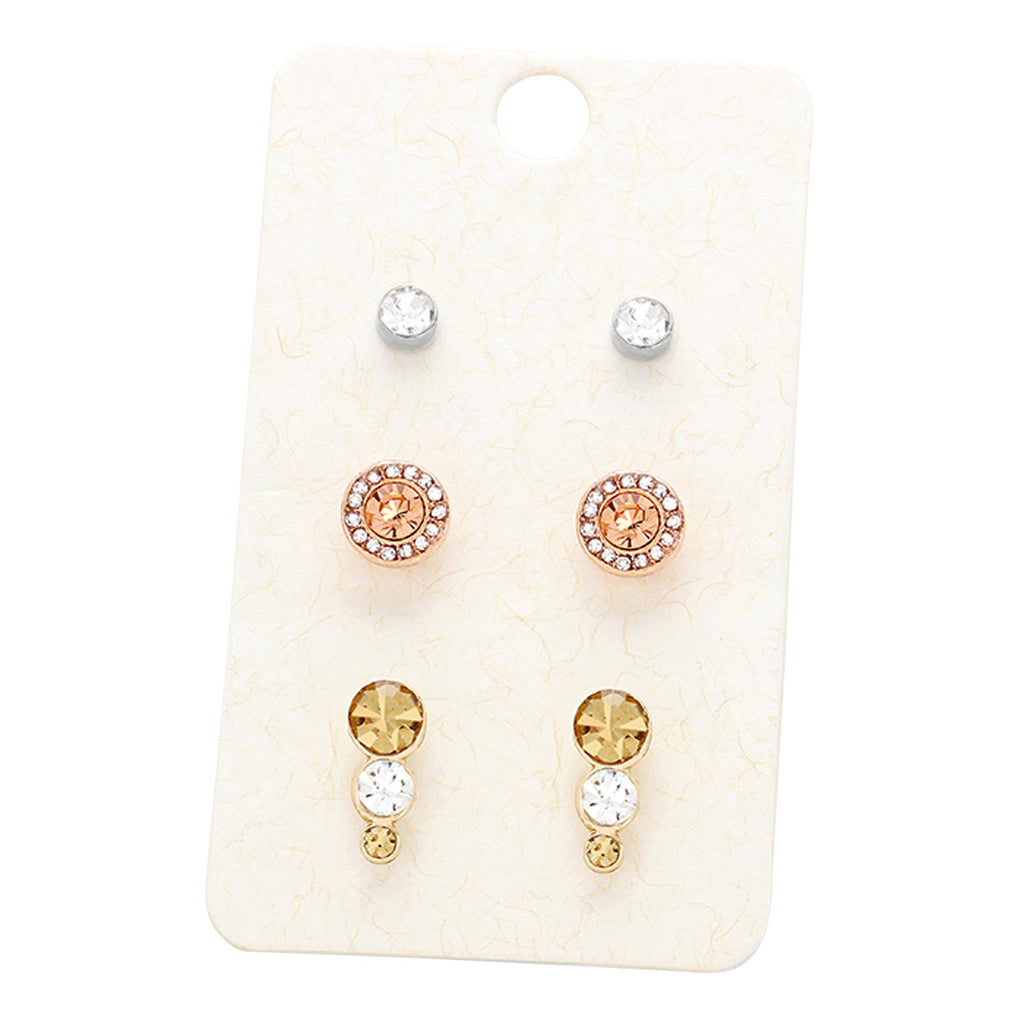 3 Pairs Mixed Crystal Pretty Stud Earrings
