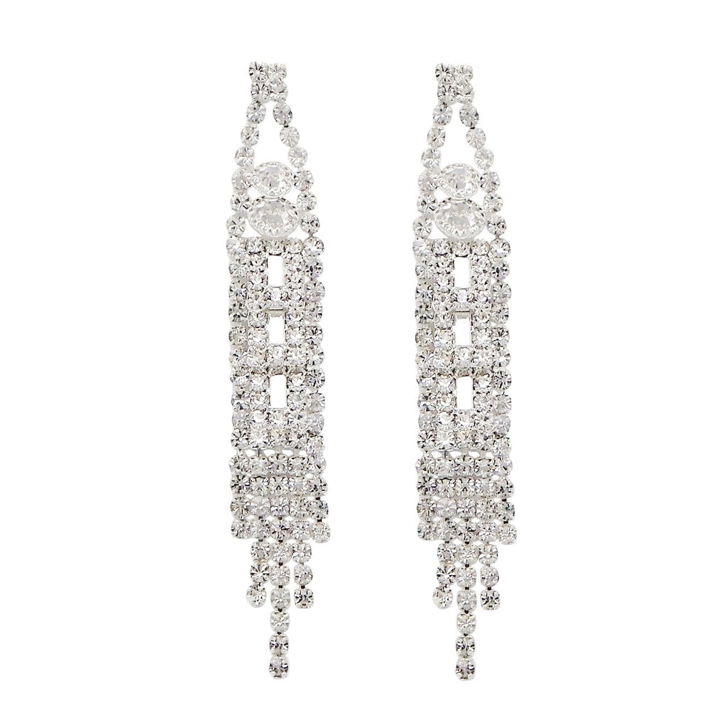 Fashion Trending Extra Long Rhinestone Fringe Statement Dangle Earrings