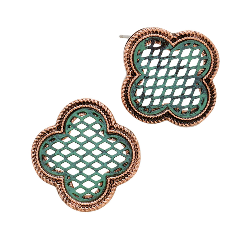 "Copper and Patina Quatrefoil ""Clover"" Post Earrings"
