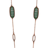 Moroccan Style Two Tone Long Necklace Earrings Set (Copper and Patina)