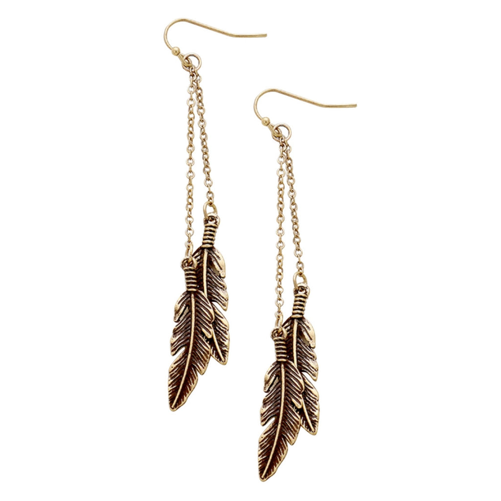 Gold Color Vintage Metal Double Feather Dangle Earrings