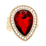 Dazzling Crystal Stretch Statement Cocktail Ring (Gold Tone Red)