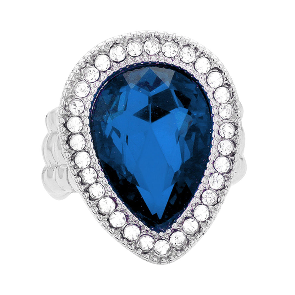 Dazzling Crystal Stretch Cocktail Ring (Silver Tone Blue)