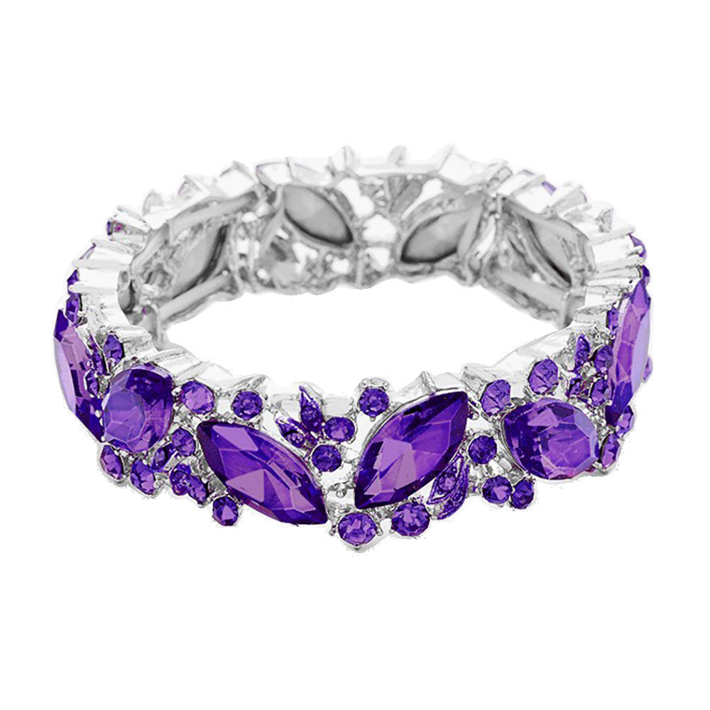 Silver and Violet Purple Marquise Crystal Stretch Bracelet