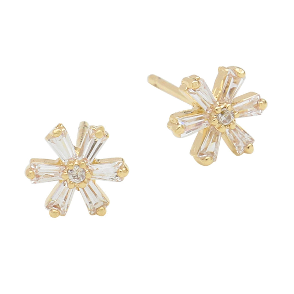 14k Gold Filled Petite Elegant Crystal Floral Stud Earrings (Gold Tone)