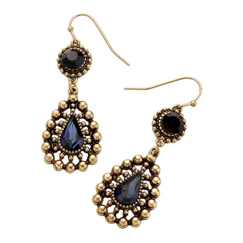 Crystal Teardrop Bubble Design Dangle Earrings (Blue)