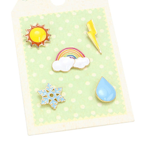 5 Weather Related Symbols Brooch Enameled Pin Set