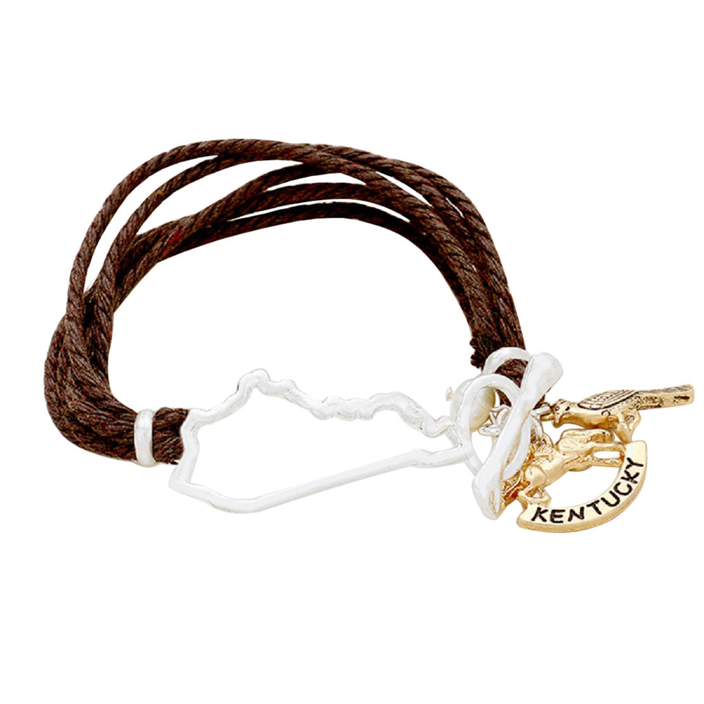 """Kentucky""  Horse Charm Multi Leather Twist Bracelet"