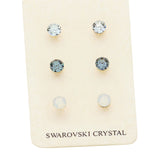 3 Pairs Mixed Swarovski Crystal Pretty Stud Earrings Set