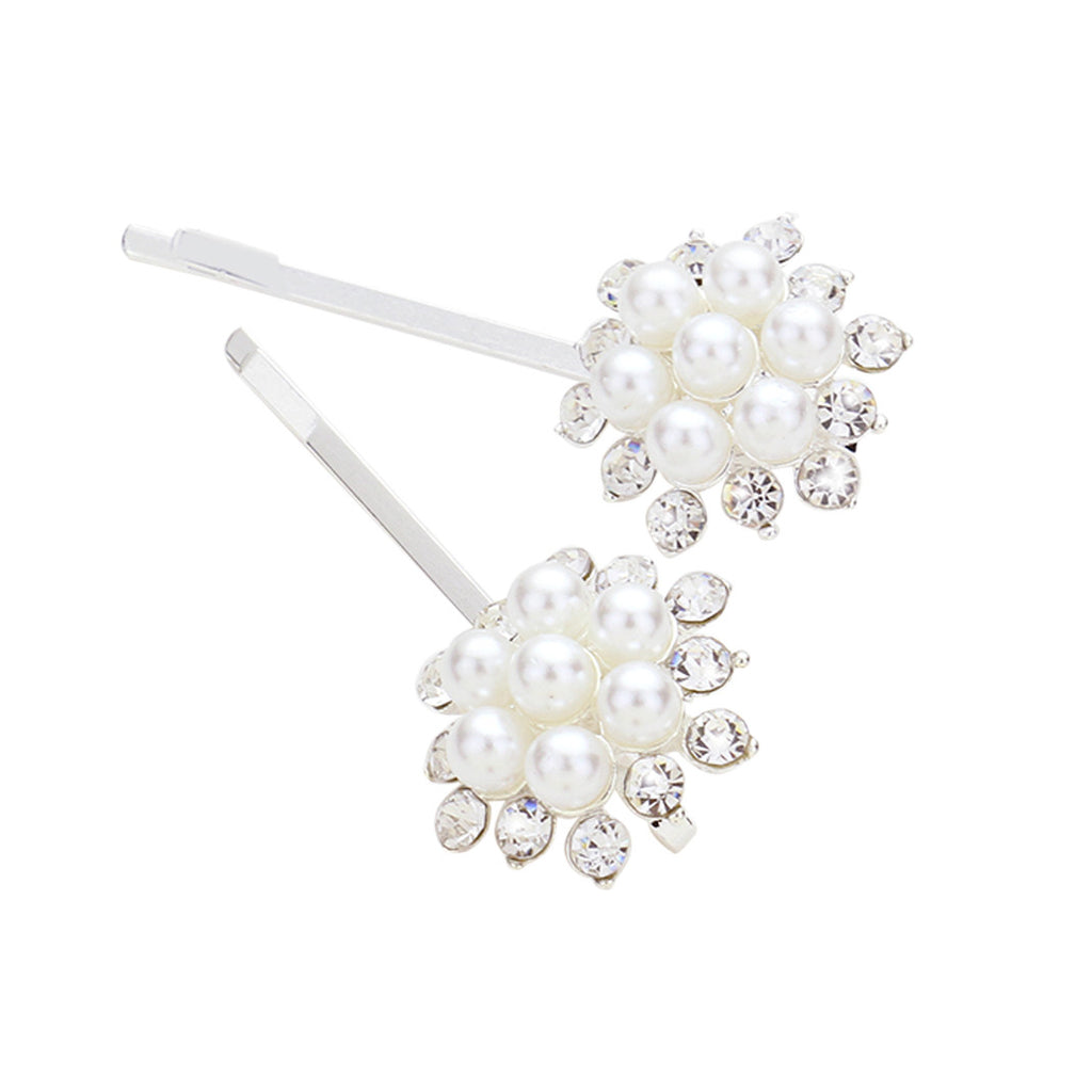 Cluster of Faux Pearl and Rhinestone Hair Clip Bobby Pins, 2.25""