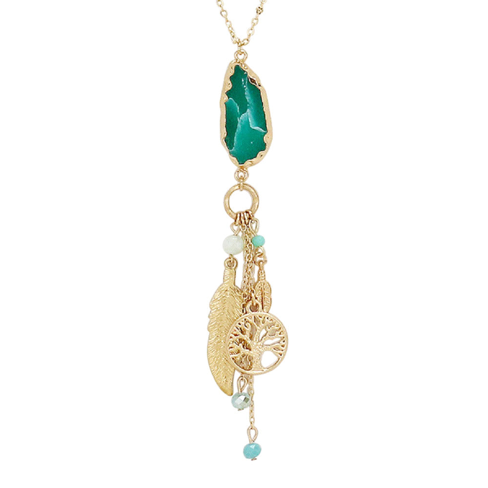 "Quartz Stone and Dangle Charms Pendant Necklace ""Tree of Life"" (Turquoise)"