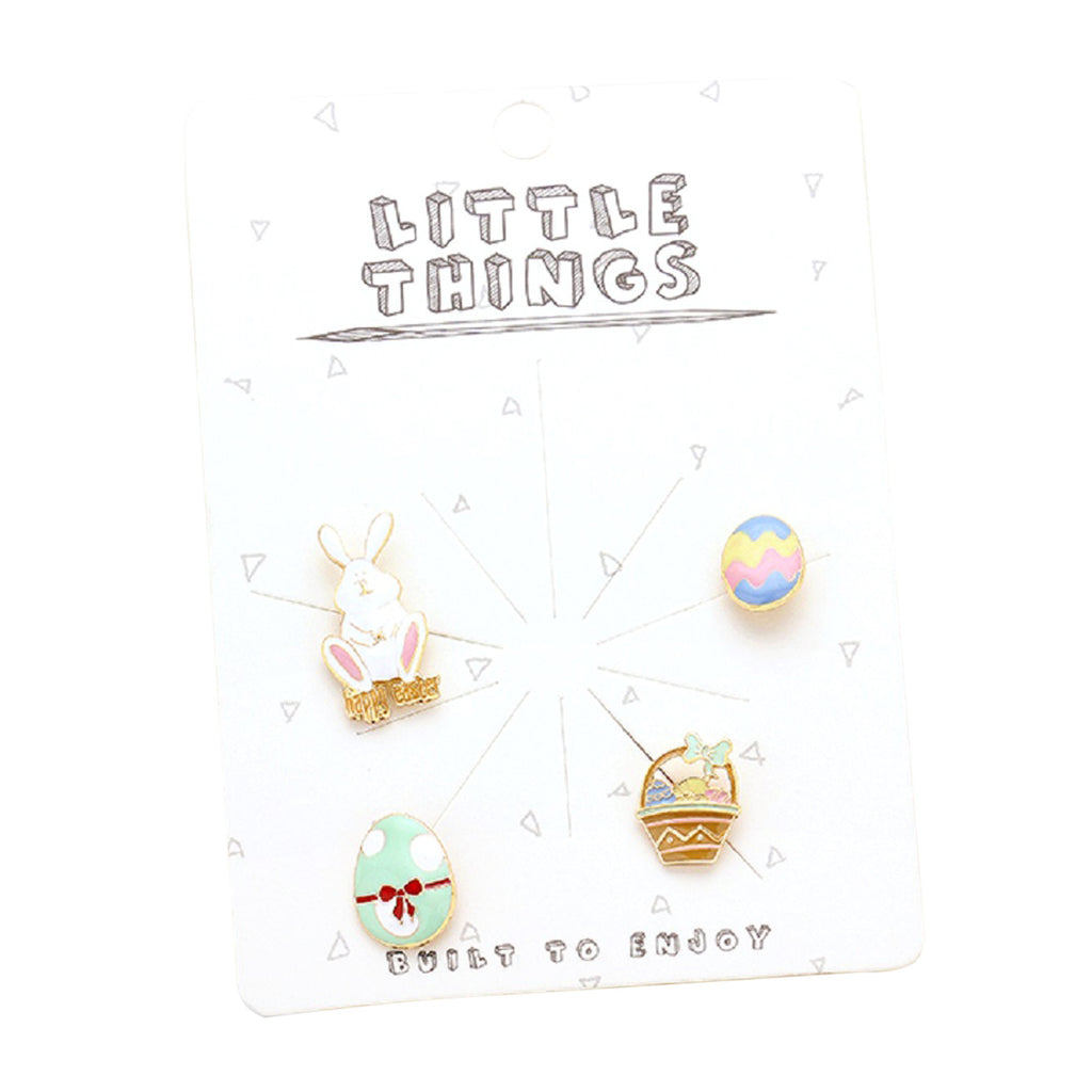 Easter Themed Enamel Brooch Pin Set