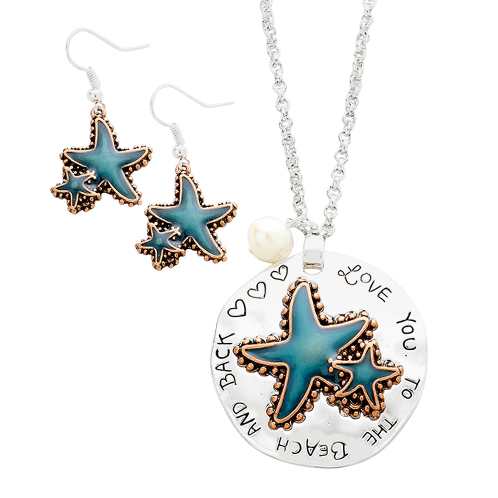 "Fun Aqua Starfish Necklace Earrings Set ""Love You To The Beach And Back"""