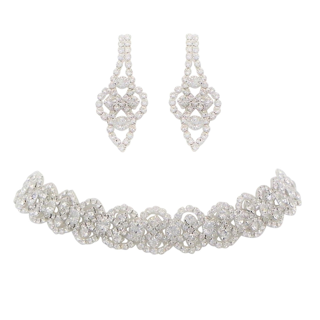 Crystal Statement Choker Necklace and Earrings Set