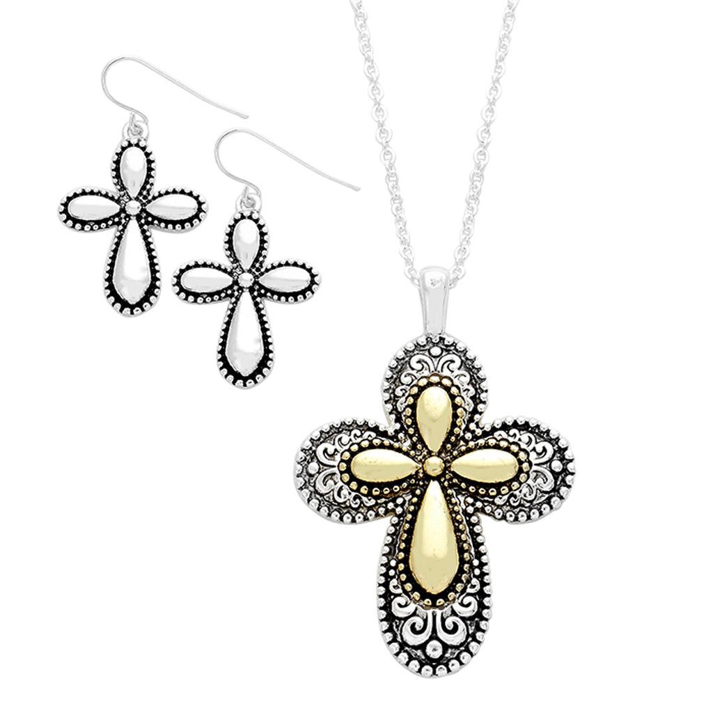 "Two Tone Filigree Cross Pendant Necklace and Earrings Set ""Religious Gifts"""