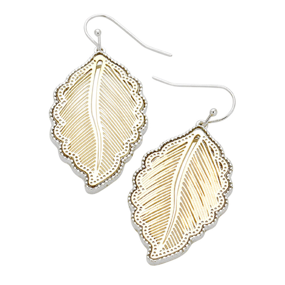 Boho Chic Two Tone Decorative Leaf Dangle Earrings (Silver Tone and Gold)