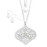 Double Strand Moroccan Style Pendant Necklace and Pearl Earring Set (Silver Tone)