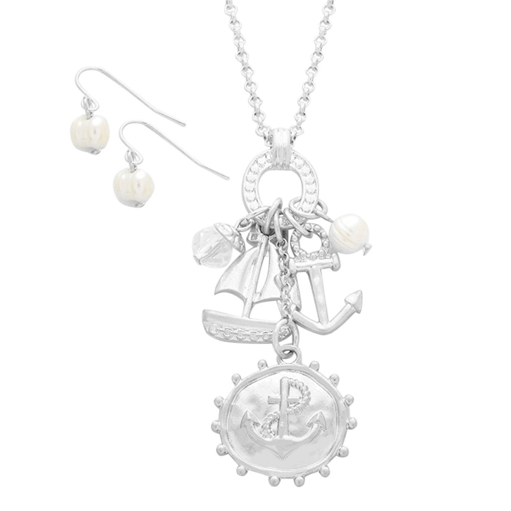 Sailboat and anchor pendant necklace fashion jewelry set rosemarie sailboat and anchor pendant necklace fashion jewelry set aloadofball Image collections