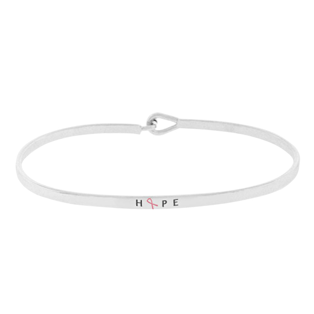 "Pink Ribbon Thin Hook Bangle Bracelet ""Hope"" (Rhodium)"