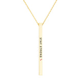 Pink Ribbon Vertical Bar Pendant Necklace Stay Strong (Gold Color)