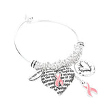 Pink Ribbon Charm Bangle Bracelet Inpirational