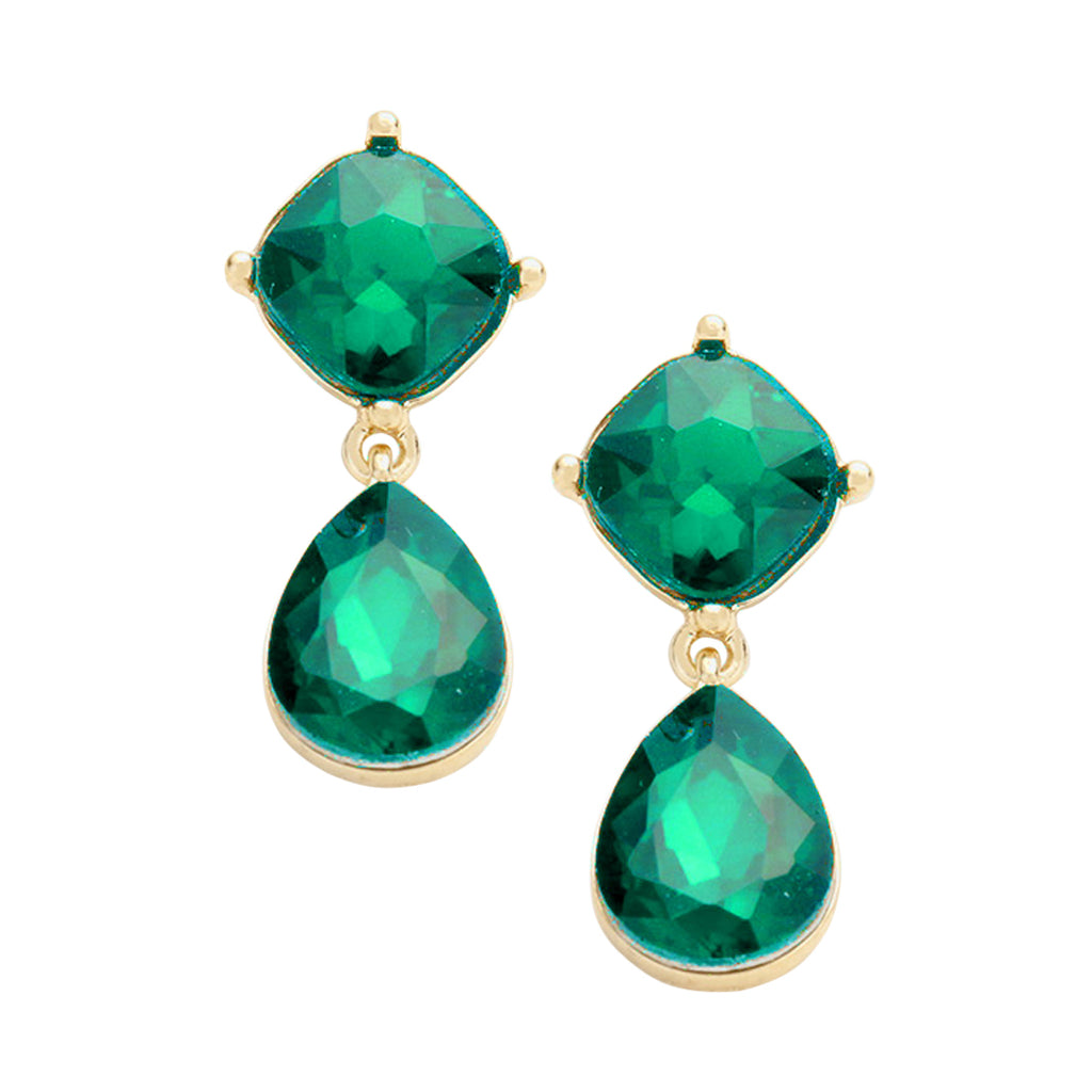 Emerald Glass Crystal Teardrop Earrings