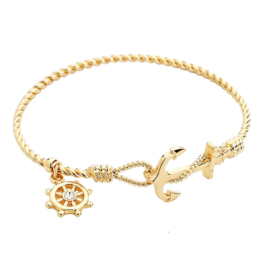 Gold Tone Anchor Bangle Bracelet