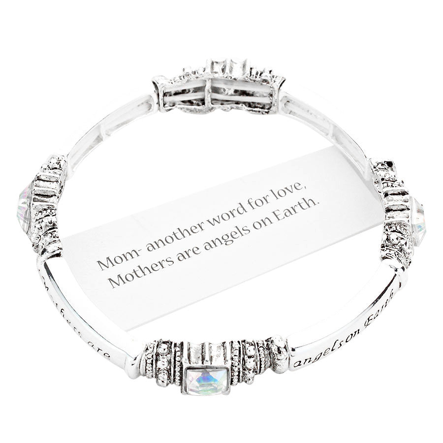 """Mothers Are Angels On Earth"" Stretch Bangle Bracelet"