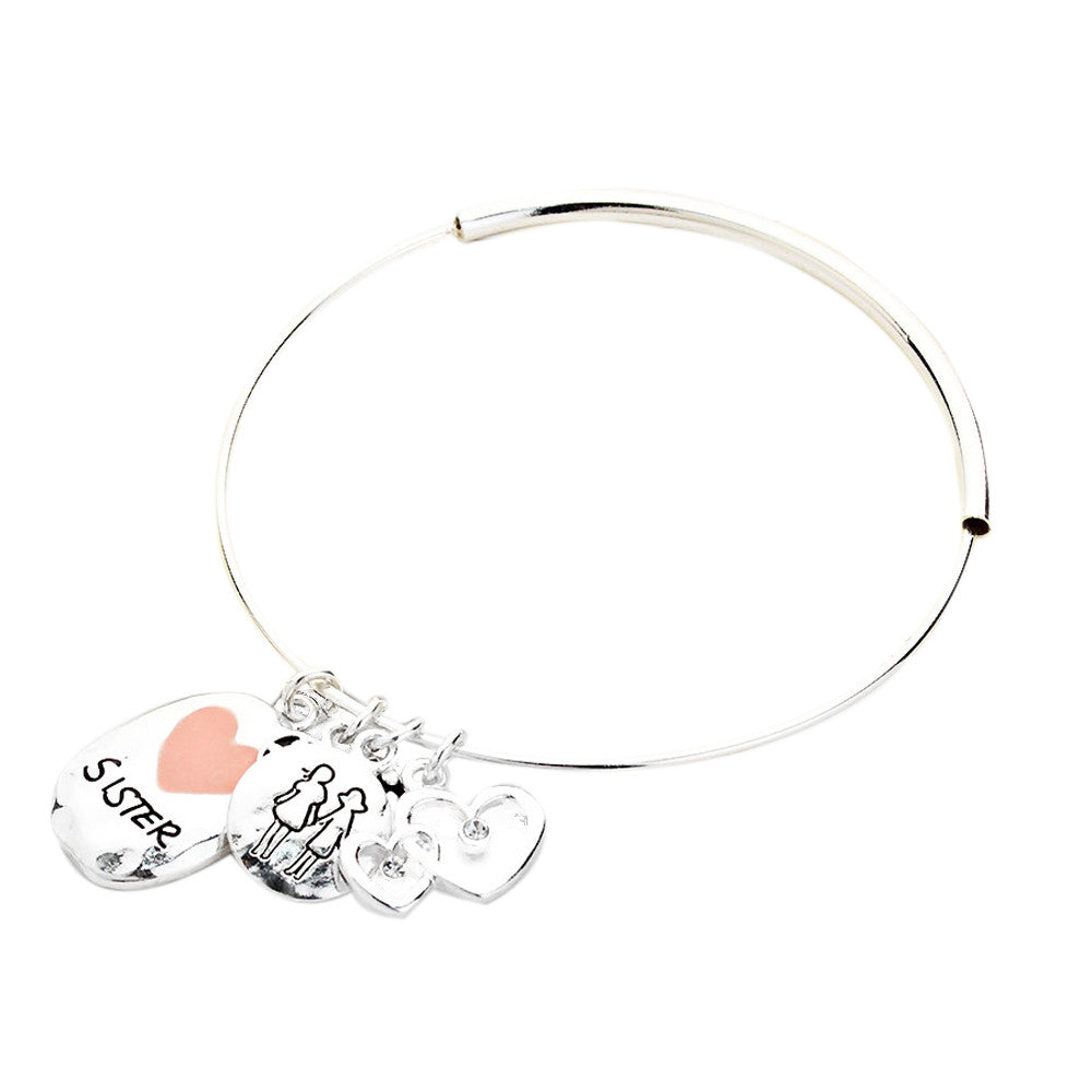 Silver tone Sister Charm Wire Bangle Style Bracelet