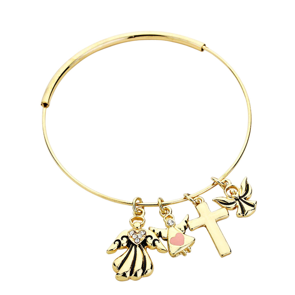 Angels, Pink Heart with Cross Charm Bracelet Gold Tone