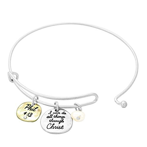 I Can Do All Things Through Christ Religious Charm Bracelet