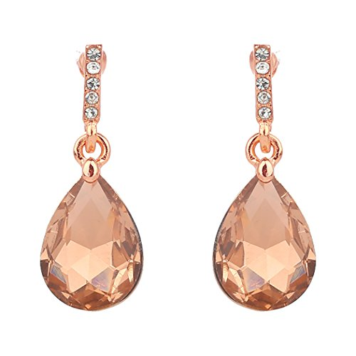 Teardrop Dangle Drop Earrings (Rose Gold Tone/Peach)