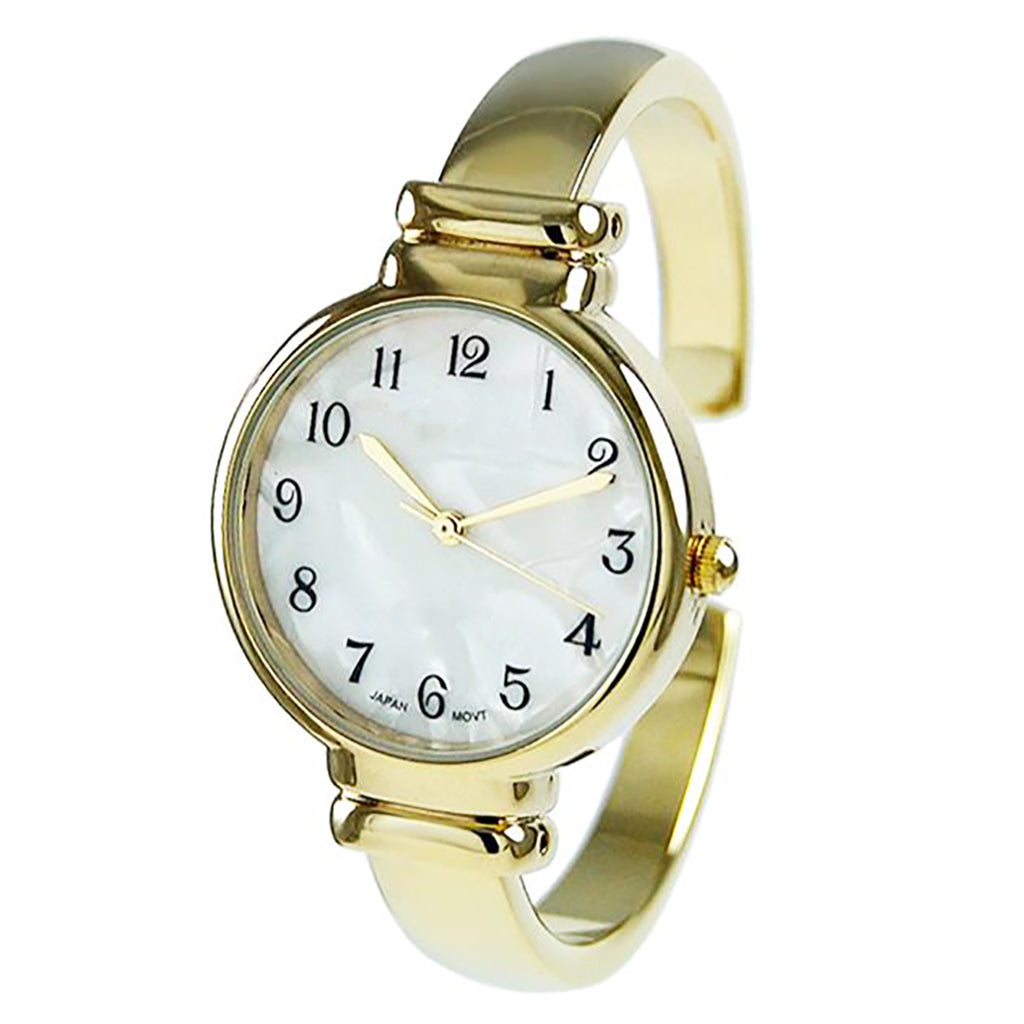 Mother of Pearl Metal Cuff Watch (Gold)