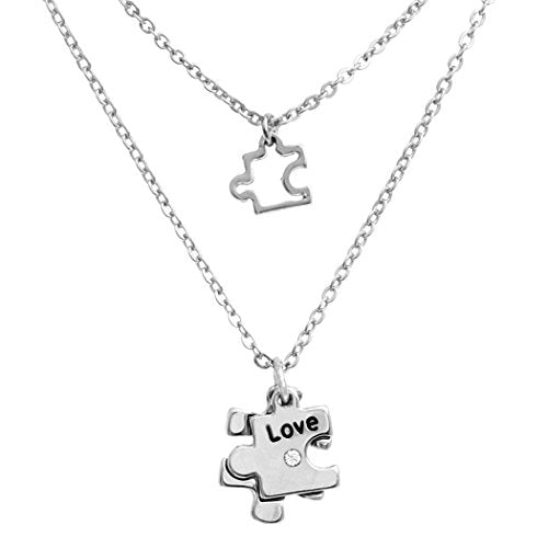 "Double Charm Necklace Set Autism Awareness Puzzle Piece (Silver) 16"" to 18"" with 3"" Extender"