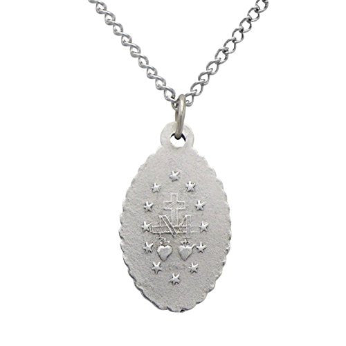"Small Religious Oval Pendant Necklace ""Miraculous Medal"""