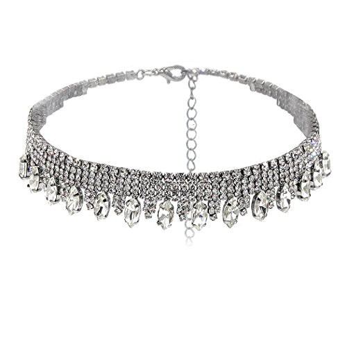 Marquise Rhinestone Statement Choker Necklace (Silver Tone)