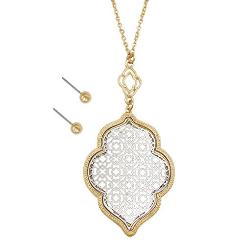 Moroccan Metal Cut Out Pendant Necklace Earrings Fashion Jewelry Set (Gold and Silver Tones)