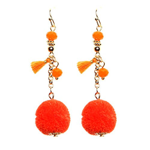Pom Pom and Tassel Drop Fashion Earrings (Orange)