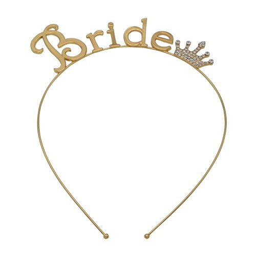 "Bachelorette Party Tiara Headband ""Bride"" (Gold Tone)"