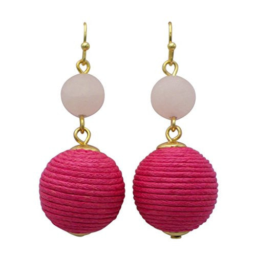 Fashion Dangle Earrings Stone and Thread Ball Drop (Pink)