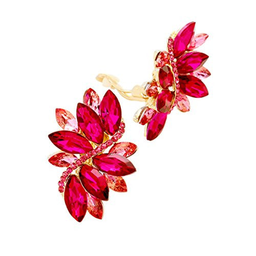 Crystal Cluster Statement Clip On Earrings (Gold Tone Fuchsia Pink)
