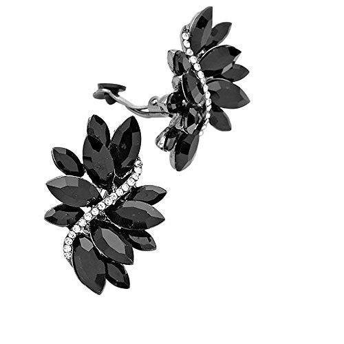 Crystal Cluster Statement Clip On Earrings (Hematite Black Crystal)